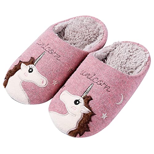 Cute Unicorn House Slippers for Kids Animal Indoor Slippers Waterproof Sole Fuzzy Home Slippers