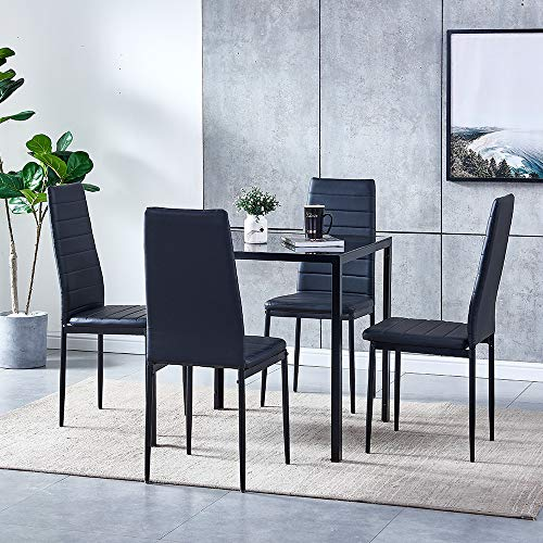 5 Piece Modern Black Dining Table, Small Black Dining Table And 4 Chairs