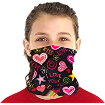 Kids UV Protection Neck Gaiter for Hot Summer Cycling Hiking Sport-Pink/&Grey