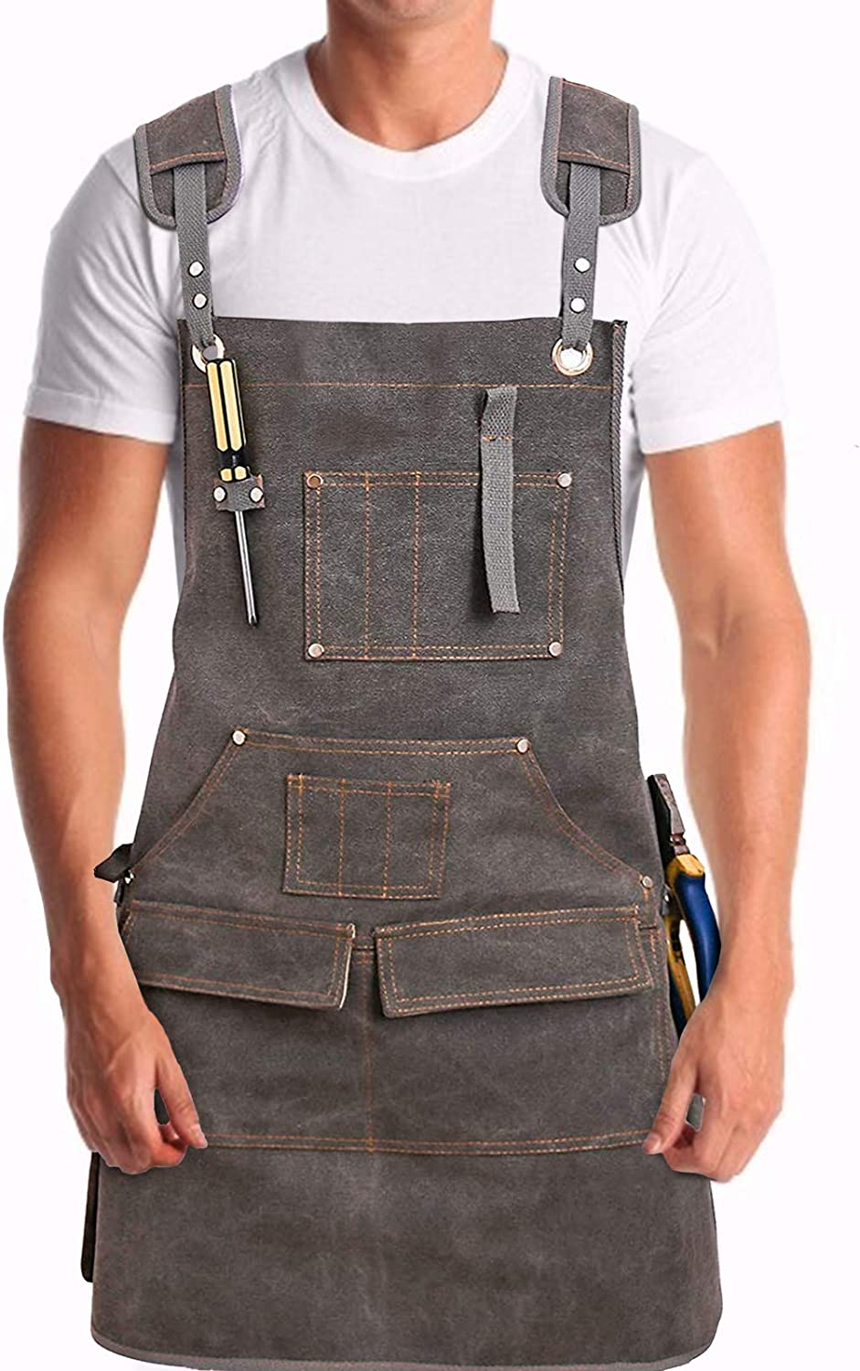 Buy MDHAND Woodworking Apron, Heavy Duty Waxed Canvas Work Apron ...