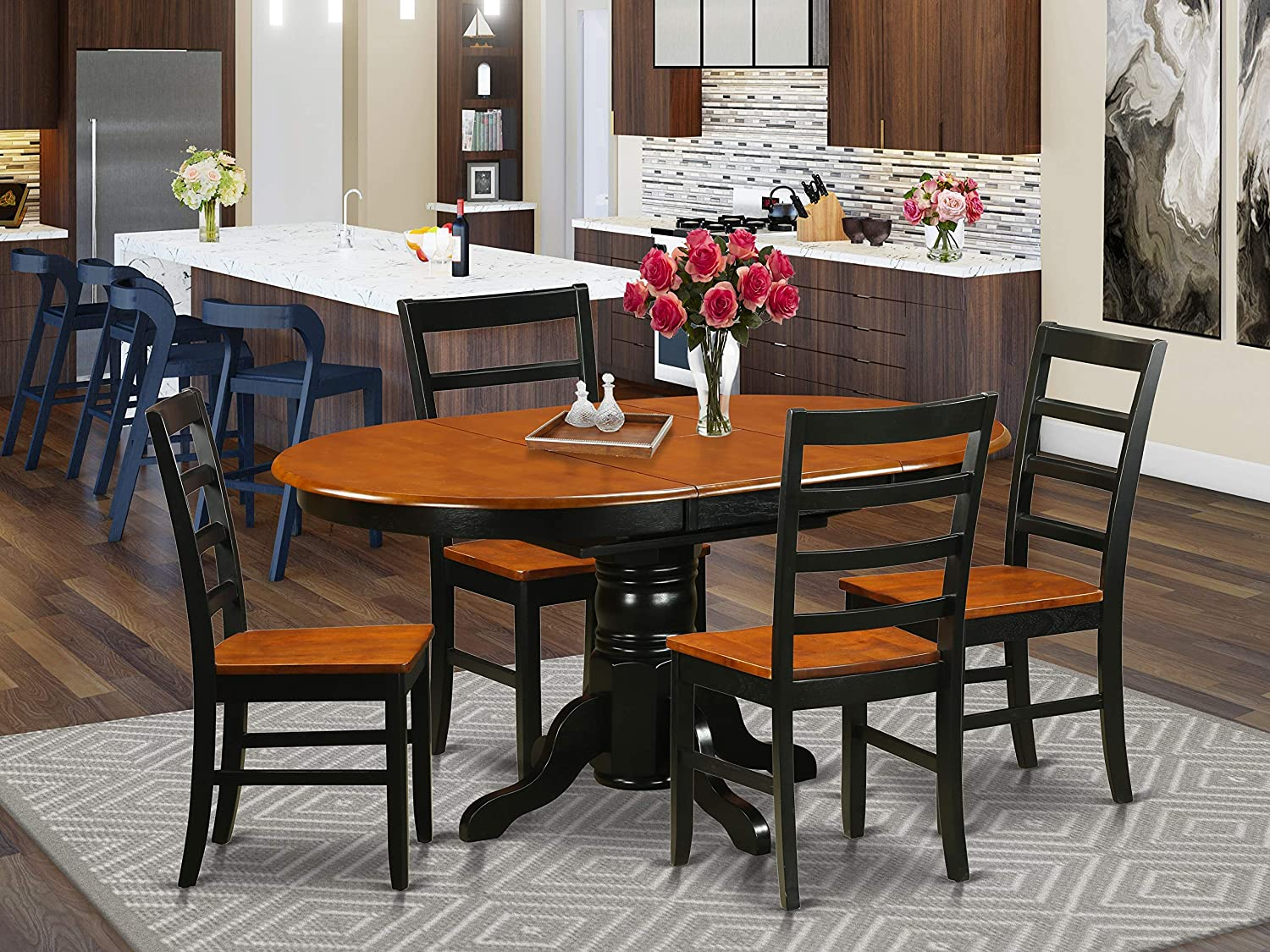 East West Furniture Kitchen Table, Cherry Wood Dining Room Set